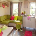 """Intérieur du mobil-home 3 chambres """"Confort+""""  au Camping Flower Les Vertes Feuilles"""