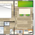 Plan de l'intérieur du mobil-home 1 chambre Super Astria
