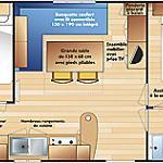 """Plan d'un mobil-home 2 chambres """"Confort +"""" à louer pour vos vacances en Baie de Somme"""